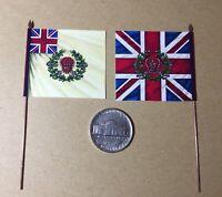 2x 28mm Napoleonic Flags on metal flagpole British Waterloo 52nd Oxford Lt Inf