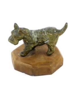 Vintage brass sculpture of a Scottish terrier dog on heavy base