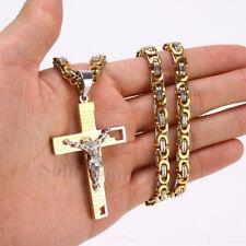 Men Stainless Steel Jesus Christ Cross Bible Prayer Pendant Byzantine Necklace