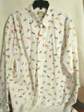 Men's HATHAWAY Fly Fishing XL Long Sleeve Dress Shirt CATCH AND RELEASE