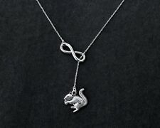 Infinity necklace with squirrel charm, cute squirrel eat pinecones necklace!