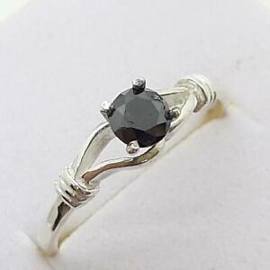 $999 14K White gold plate/925 Genuine .60ctw Fancy Black Diamond Engagement Ring