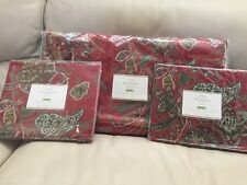 3pc POTTERY BARN Adela Velvet Print FULL/QUEEN Duvet & 2 EURO Shams NEW