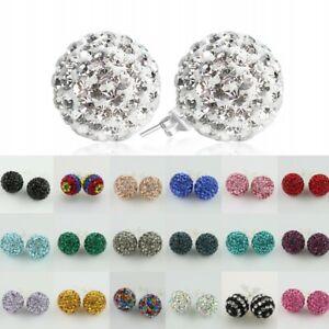 1Pair Czech Crystal Disco Ball Stud Silver Sparkle Earrings 6mm 8mm 10mm 12mm