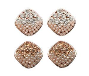 Clip On Crystal Diamenta Earrings Cushion Diamond Pearl