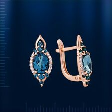 Earrings LONDON TOPAZ CZ NWT Russian solid rose gold 585/14k  Beautiful NEU