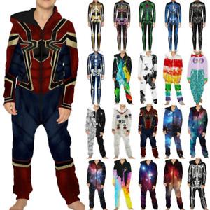Kinder Jumpsuit Overall Kostüm Junge Mädchen Skelett Spiderman Playsuit Fasching
