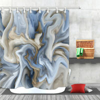 Abstract Water Wave Oil Painting Art Bathroom Mat Fabric Shower Curtains & Hooks