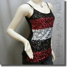 * Chic Spaghetti Strap Sequin Sleeveless Vest Top Black Silvery Red S~M