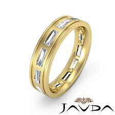 Baguette Bezel Diamond Mens 6mm Ring Eternity Wedding Band 14k Yellow Gold 2.2Ct