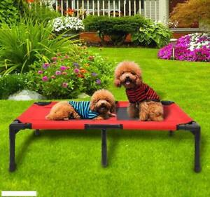 UK Elevated Dog Bed Pet Cat Mesh Camping Cot Indoor Outdoor Waterproof Large