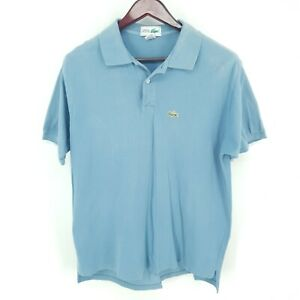 Lacoste Shirt Chemise Polo  Mens Large Short Sleeve 100% Cotton Blue Made In USA