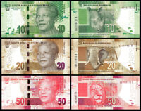 SOUTH AFRICA SET 3 PCS 10-20-50 RAND 2012-2014 NEW UNC