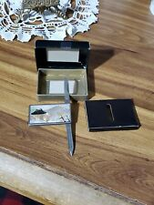 Vintage Japan Etching Money Clip and 2 accessories knife Stainless Steel