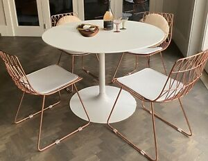 4 x rose gold copper dining chairs + white round tulip style table pick up 3186