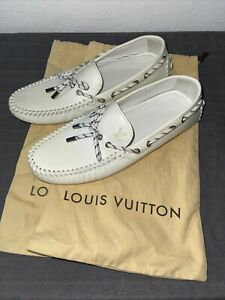 Louis Vuitton Authentic White Men's Car Shoes Loafer Moccasins 8-US 9