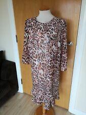 Ladies Dress Size 18 M&S Brown Pink Leopard Chiffon Party Evening Wedding