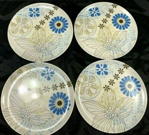 Zak Designs Dinner Plates 4 Set Blue White Brown Floral Tropical 10 In Melamine