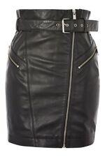 Woman Lambskin Leather Mini Skirt & Belted Zip Front Cuir Schwarz Soft Butter