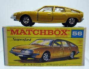 Vtg Matchbox Lesney Superfast #56 BMC 1800 Pininfarina Gold with Original Box
