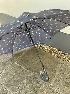 Joules Raining Dogs Black Kensington 88cm Walking Umbrella Large Canopy Fultons