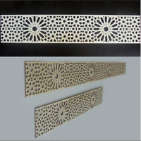4 Bordüren Holz mit Ornament Marokko - Dekorpaneele Wandtattoo wie Schnitzerei