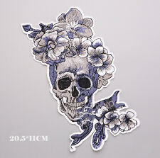 DIY Skull Flower Embroidery Sew Iron On Patch Badge Fabric Applique