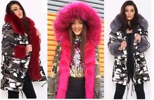 Womens Faux Fur Lined Parka Era Istrefi Coat Camouflage Hood Bonbon Warm Jacket