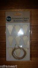 Bunting plywood 9 pack Baby Scrapbook Embellishments Art Cardmaking - Free Post