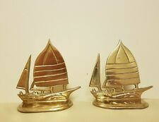 Vintage Brass Sailboat Bookends x2