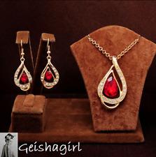 3 Colours CZ Crystal Gem Tear Drop Earring & Filled Gold Necklace Chain Set UK