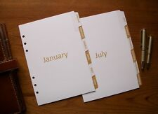 A5 Monthly 12 MONTH DIVIDERS - 'Gold' - #747 - Fits FILOFAX