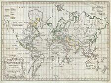 1784 VAUGONDY MAP WORLD MERCATOR PROJECTION VINTAGE POSTER PRINT 2878PYLV