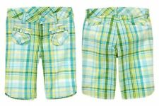 CRAZY 8 NWT Summer 2012 Plaid Bermuda Shorts XL/14 Teal Turquoise Yellow Short