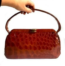 ANTIQUE REAL CROCODILE LEATHER BAG genuine Art Deco structured box kelly handbag