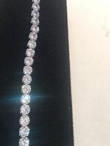10Ct Diamond Tennis Bracelet 1 Row Round Diamonds perfect 14K White Gold ep