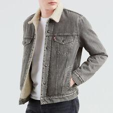 Levis Hombre Denim Sherpa forrado Bolsillos frontales de algodón chaqueta de jean vintage fit 79129