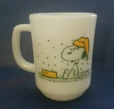 Fire King Snoopy Mug I Hate It When It Snows On My French Toast Milk Glass
