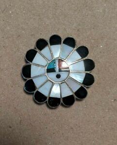 Vintage Native American Sterling Silver Multistone Sunface Deity Bolo Tie Zuni