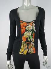 $1075 DOLCE GABBANA 2 XS Black Orange Floral Luxury Long Sleeve Sweater Top EUC