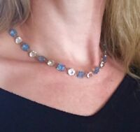 Authentic Rivière Victorian/Edwardian blue and clear gemstones Riviere necklace