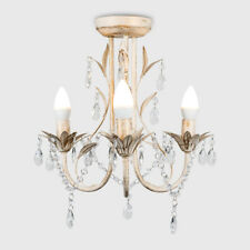 Traditional Vintage LED Semi Flush Ceiling Light Fitting Chandelier in 3 Colours