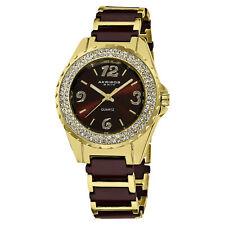 Women's Akribos XXIV AK514BRG Quartz Crystal Bezel Brown Ceramic Bracelet Watch