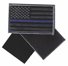"HOOK/LOOP US flag 3.5"" black/charcoal blueline stars left patch police RAY-V-CQK"