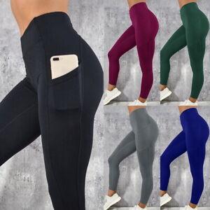 Womens Push Up Yoga Leggings Sports Pants High Waist Gym Fitness Trousers Pocket