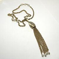 VINTAGE Textured TEARDROP PENDANT Necklace TASSEL Gold Chain FAUX PEARLS MCM