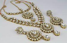 indian gold plated wedding necklace set Earring matha Pati set fashion jewellery