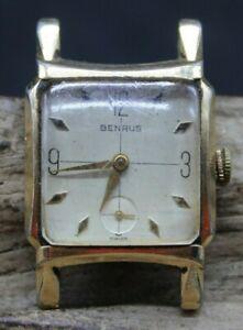 Men's Vintage Benrus 17j DM21 Wristwatch 10K Rolled Gold Plated Bezel (R3J3)