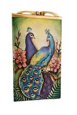 "Anuschka #1009 PPK ""PASSIONATE PEACOCKS"" Double Eyeglass Case 7""x4""x2"" NWT"