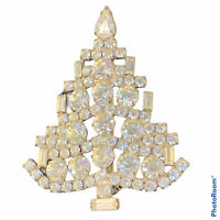 Vintage Christmas Rhinestone Brooch Pin Tree With Candles Unsigned Silver Tone